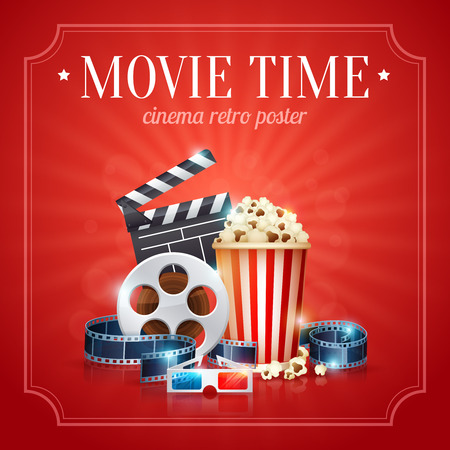 botanas: Plantilla del cartel de película del cine realista con rollo de película, badajo, palomitas de maíz, gafas 3D, con el fondo del bokeh