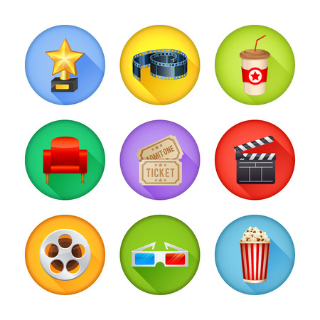 retro tv: A detailed set of realistic cinema icons for web and design with movie symbols, 3D glasses, film reel, popcorn, tickets Illustration