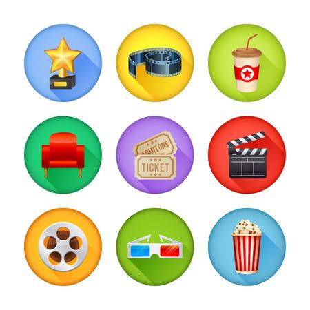 cinematograph: Un conjunto detallado de los iconos del cine realista para la web y el dise�o con s�mbolos de cine, gafas 3D, rollo de pel�cula, palomitas, boletos Vectores