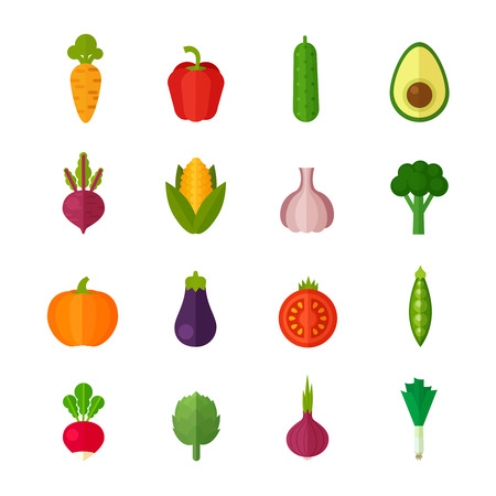 Trendy set of stylish flat vegetable icons for healthy organic menu and vegetarian recipes for phone and internet use