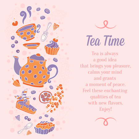 cup cakes: Elegant set of hand drawn tea and cakes banners for business cards, shop ads flyers or invitations with teapot, cup, cakes, sweets and berries with text on grungy background
