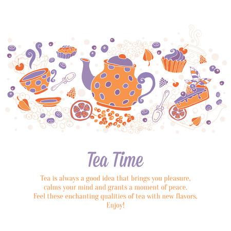 cup cakes: Elegante conjunto de dibujado a mano de t� y pasteles banners para tarjetas de visita, tienda anuncio folletos o invitaciones con tetera, taza, pasteles, dulces y bayas con el texto en fondo sucio