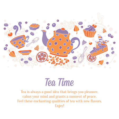 Elegant set of hand drawn tea and cakes banners for business cards, shop ads flyers or invitations with teapot, cup, cakes, sweets and berries with text on grungy background