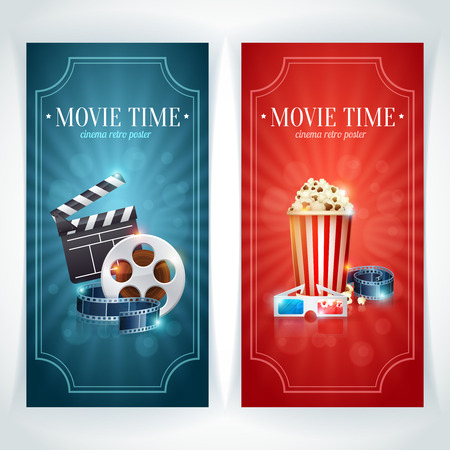 movie poster: Realistic cinema movie poster template with film reel, clapper, popcorn, 3D glasses, conceptbanners with bokeh Stock Photo