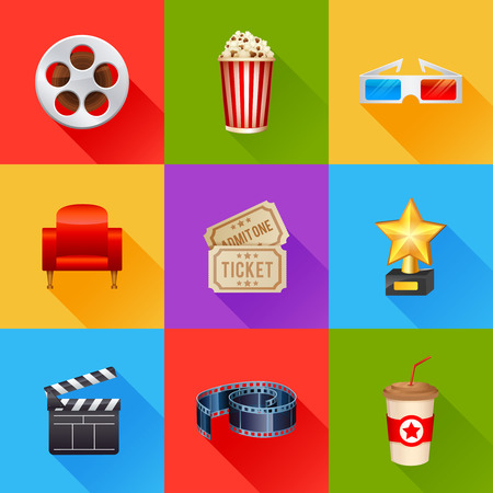 video reel: A detailed set of realistic cinema icons for web and design with movie symbols, 3D glasses, film reel, popcorn, tickets Stock Photo