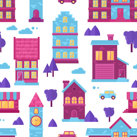 Flat city houses seamless colorful pattern for kids cartoon fabric and web texture backgrounds