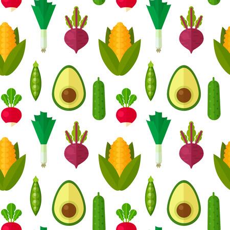플랫 야채 건강하고 유기 섬유에 대한 원활한 패턴, 채식 블로그 배경 질감, 인쇄 및 웹 사용, 스톡 콘텐츠 - 42778806