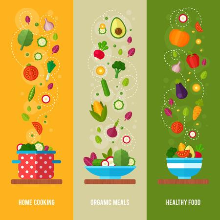 nutritious: Advertisement set of concept banners with flat vegetable icons for vegetarian restaurant home cooking menu and organic healthy eating recipes Stock Photo