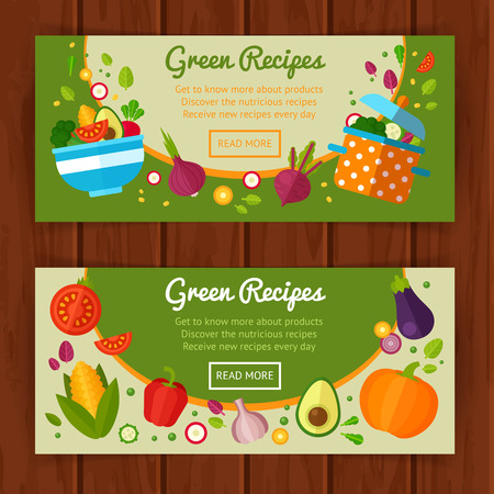salad: Advertisement set of concept banners with flat vegetable icons for vegetarian restaurant home cooking menu and organic healthy eating recipes Stock Photo