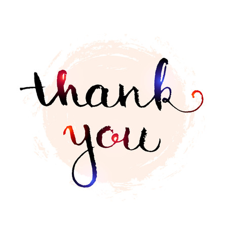 pen and marker: Thank you hand lettering elegant card with abstract watercolour splash spot isolated on white background