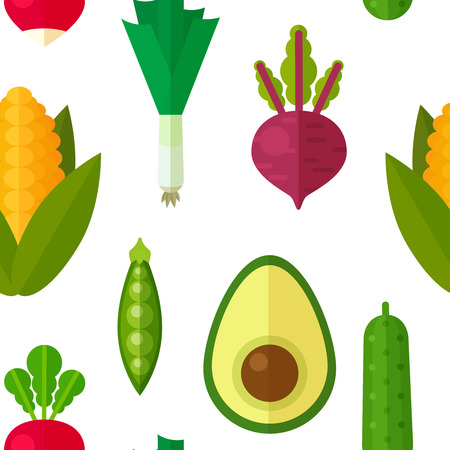 Flat vegetables seamless pattern for textile, vegetarian blog background texture, print and web usage, healthy and organic