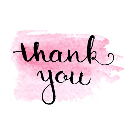 Thank you hand lettering elegant card with abstract watercolour splash spot isolated on white background