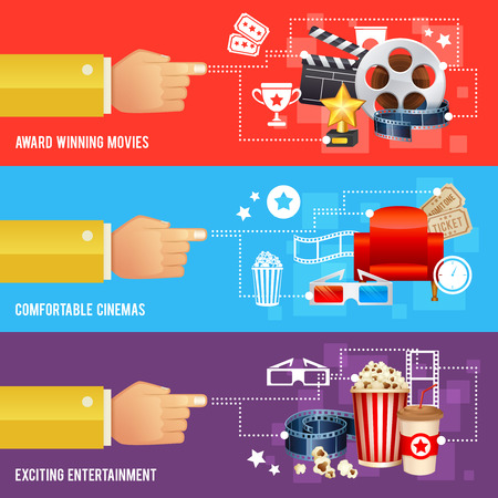 movie poster: Realistic cinema movie poster template with film reel, clapper, popcorn, 3D glasses, conceptbanners