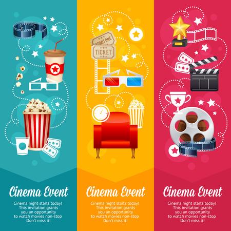 cine: Plantilla del cartel de película del cine realista con rollo de película, badajo, palomitas de maíz, gafas 3D, conceptbanners Vectores