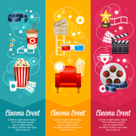 movie and popcorn: Realistic cinema movie poster template with film reel, clapper, popcorn, 3D glasses, conceptbanners