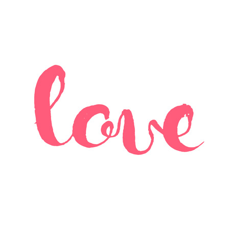 pen and marker: Love hand lettering elegant card with calligraphic message isolated on white background
