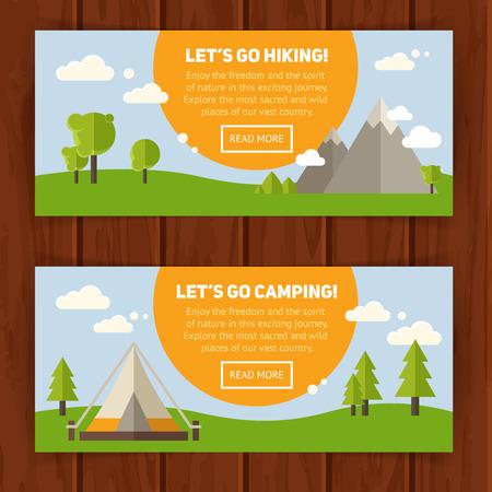 campamento: Set Publicidad de concepto pancartas con iconos planos de senderismo para acampar - coche, tienda, fogata, montañas, árboles, cámara, bagpack, mapa Vectores