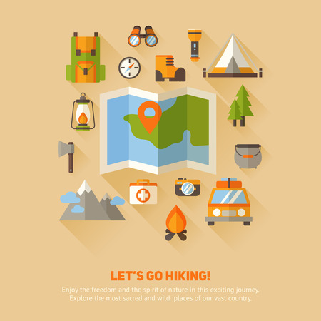 hiking: Advertisement set of concept banners with flat hiking icons for camping - car, tent, campfire, mountains, trees, camera, bagpack, map