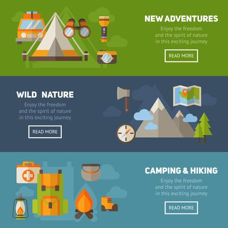 Advertentie set van begrip banners met platte wandelen iconen voor camping - auto, tent, kampvuur, bergen, bomen, camera, rugzak, kaart Vector Illustratie