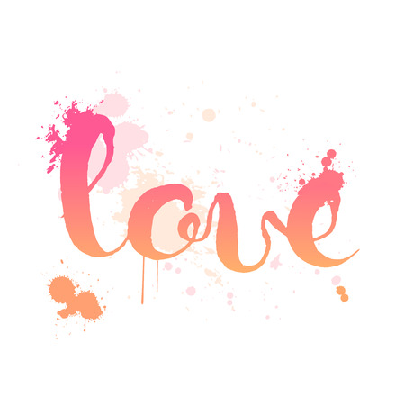 watercolor pen: Love hand lettering elegant card with abstract watercolour splash spot isolated on white background Illustration