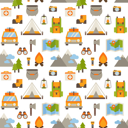hiking: Hiking seamless pattern with flat camping elements - car, tent, campfire, mountains, trees, camera, bagpack, map
