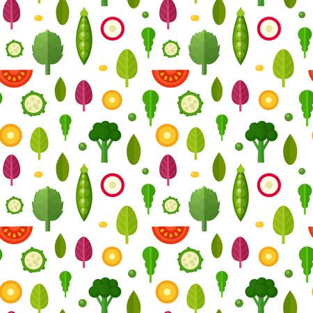 플랫 야채 건강하고 유기 섬유에 대한 원활한 패턴, 채식 블로그 배경 질감, 인쇄 및 웹 사용, 일러스트