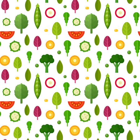 vegetarians: Flat vegetables seamless pattern for textile, vegetarian blog background texture, print and web usage, healthy and organic