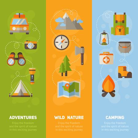 フラット ハイキング キャンプ - アイコンがコンセプト バナー広告セット車、テント、キャンプファイヤー、山、木、カメラ、bagpack 良い、地図 写真素材 - 43143208