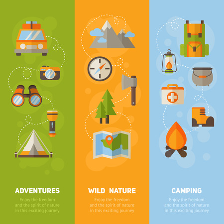 camp: Advertisement set of concept banners with flat hiking icons for camping - car, tent, campfire, mountains, trees, camera, bagpack, map