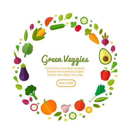 spinach salad: Advertisement set of concept banners with flat vegetable icons for vegetarian restaurant home cooking menu and organic healthy eating recipes Illustration