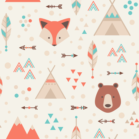 a feather: Cute trible geometric seamless pattern in cartoon style with fox, bear, lodge houses, arrows, feathers for fabric and web backgrounds Illustration