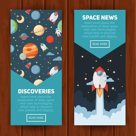 スペース テーマのバナーやカードは平らな惑星、ロケット、星、広告、招待状のデザインのための望遠鏡の天文記号