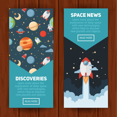 planets: Space theme banners and cards with flat astronomic symbols of planets, rocket, stars, telescope for design, invitations and advertisement Illustration
