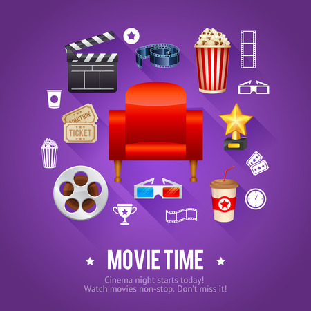 movie poster: Realistic cinema movie poster template with film reel, clapper, popcorn, 3D glasses, conceptbanners with bokeh Illustration