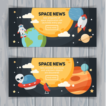 Space theme banners and cards with flat astronomic symbols of planets, rocket, stars, telescope for design, invitations and advertisement Vettoriali