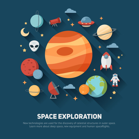 Space theme banners and cards with flat astronomic symbols of planets, rocket, stars, telescope for design, invitations and advertisement Çizim