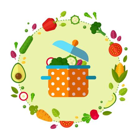 채식 레스토랑 홈 요리 메뉴 및 유기농 건강 한 먹는 조리법에 대 한 플랫 야채 아이콘을 사용 하여 컨셉 배너의 광고를 설정합니다.