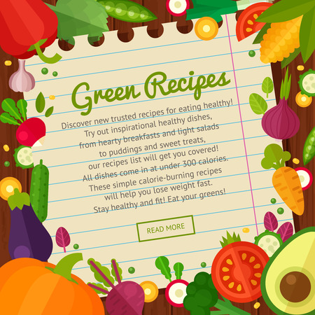 채식 레스토랑 가정 요리 메뉴 및 유기 건강한 식사 조리법 플랫 야채 아이콘 개념 배너 광고 세트 스톡 콘텐츠 - 43143728