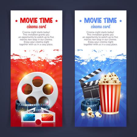 Plantilla del cartel de película del cine realista con rollo de película, badajo, palomitas de maíz, gafas 3D, conceptbanners con bokeh Foto de archivo - 43143729