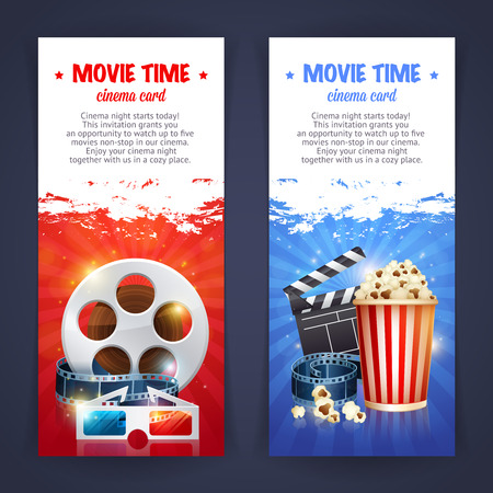 Realistic cinema movie poster template with film reel, clapper, popcorn, 3D glasses, conceptbanners with bokeh Illustration