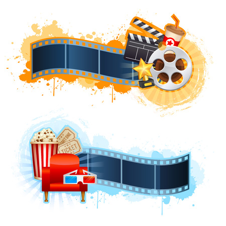 cinta de pelicula: Plantilla del cartel de película del cine realista con rollo de película, badajo, palomitas de maíz, gafas 3D, conceptbanners con bokeh