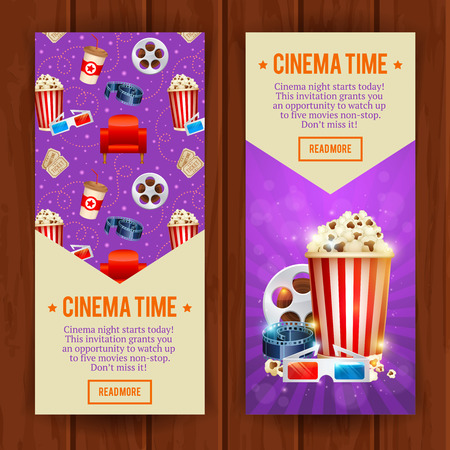 Realistic cinema movie poster template with film reel, clapper, popcorn, 3D glasses, conceptbanners with bokeh  イラスト・ベクター素材
