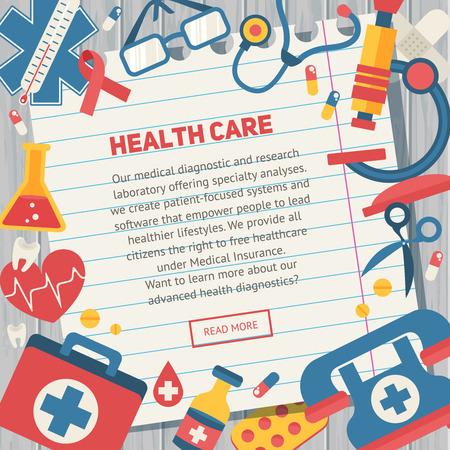 emergencia medica: Plantillas de banners Médicos en estilo plano de moda con los principales elementos de cuidado de la salud - kit de emergencia, corazón, píldoras, cruz