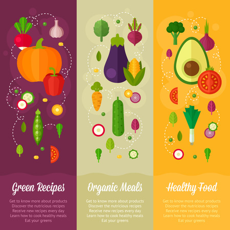 spinach: Advertisement set of concept banners with flat vegetable icons for vegetarian restaurant home cooking menu and organic healthy eating recipes Illustration