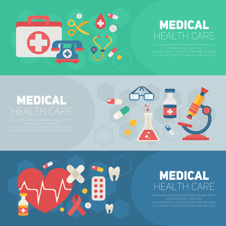 heart health: Medical banners templates in trendy flat style with main health care elements - emergency kit, heart, pills, cross