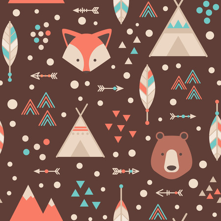 fox: Cute trible geometric seamless pattern in cartoon style with fox, bear, lodge houses, arrows, feathers for fabric and web backgrounds Illustration