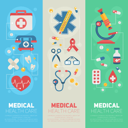 postcard background: Medical banners templates in trendy flat style with main health care elements - emergency kit, heart, pills, cross