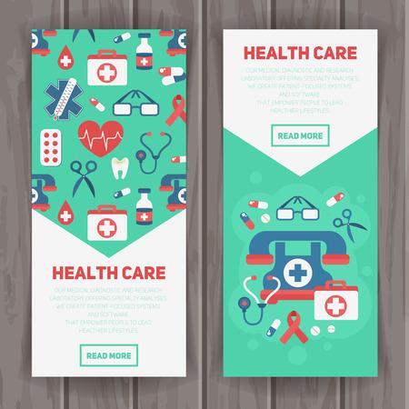 chăm sóc sức khỏe: Banner mẫu y tế theo phong cách phẳng hợp thời trang với các yếu tố chính chăm sóc sức khỏe - bộ khẩn cấp, trái tim, thuốc, cross