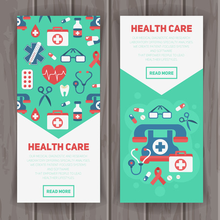 drugs pills: Medical banners templates in trendy flat style with main health care elements - emergency kit, heart, pills, cross