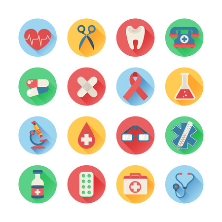 medical illustration: Medical icons in trendy flat style with long shadows and main health care elements - emergency kit, heart, pills, cross